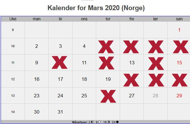 kalender arial black 72 mars 2020
